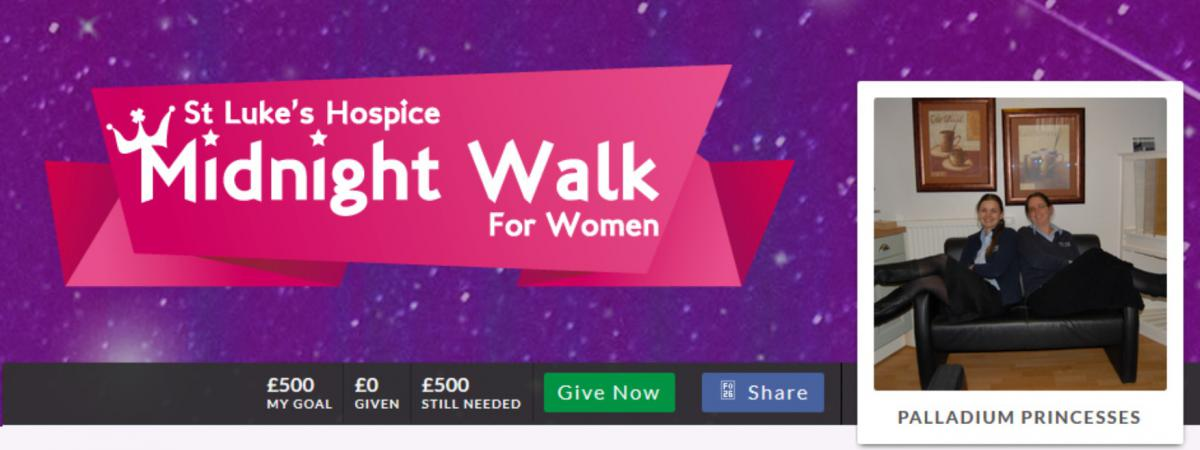 Help Palladium Princesses make a difference - St Luke's Hospice Midnight Walk